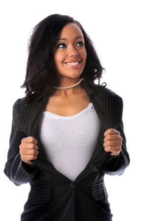 African American super businesswoman opening jacket isolated over white background photo