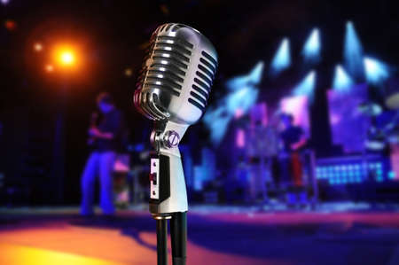 old microphone: Vintage microphone at concert Stock Photo