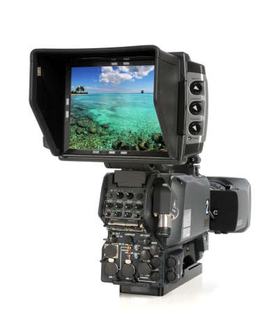 media gadget: High Definition video camera viewed from back side with picture on screen