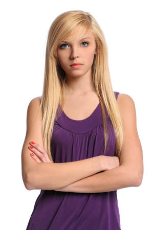 Portrait of beautiful young woman with arms crossed isolated over white background