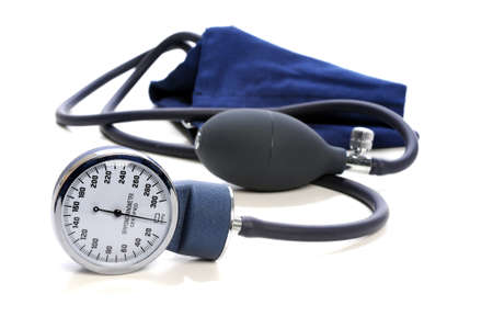 systolic: Blood Pressure devise with selective focus isolated over white background