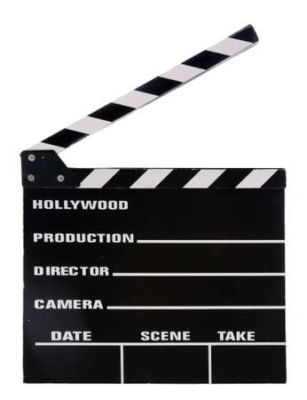 Movie clapper board isolated over white background photo