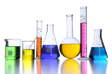 Laboratory glassware with color fluids over white background Stock Photo - 8025309