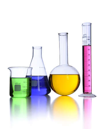 Laboratory glassware over white background with reflections on foreground Stock Photo - 8025280