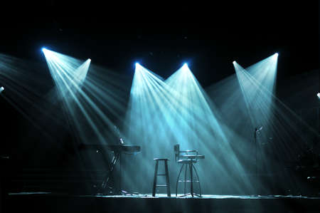 Stage with bright lights and microphones ready for concert Stock Photo - 8025281