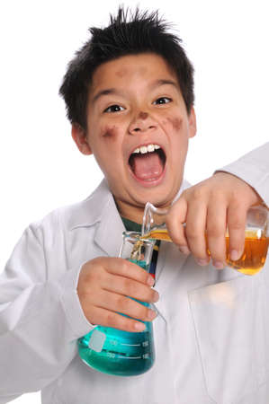 Young mad scientist mixing chemicals isolated over white background photo
