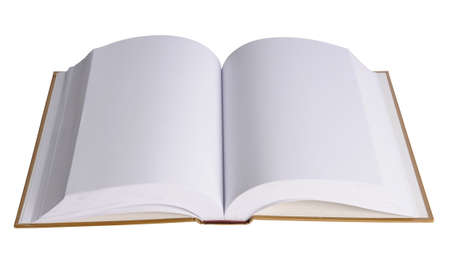 notebook page: Open book with blank pages isolated over white background
