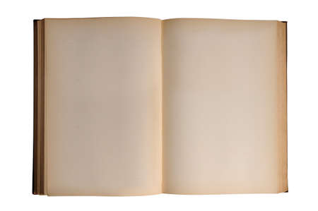 Open vintage book with blank pages isolated over white background Banco de Imagens