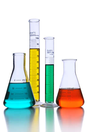 Laboratory glassware with reflections