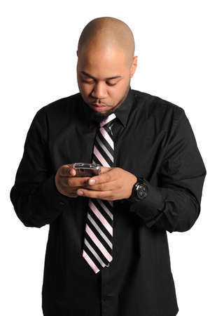 African American businessman texting isolated over white background photo