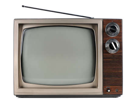 screen tv: Vintage television with antenna Stock Photo