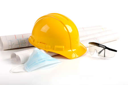 hard: Hard hat, plans and safety protection equipment in the construction industry Stock Photo