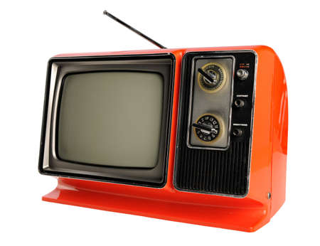 Orange vintage television with antenna Stock Photo - 8110307