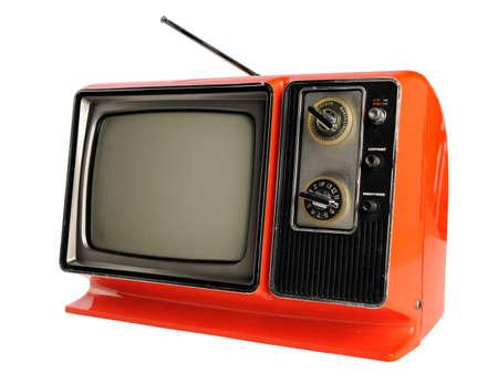 Orange vintage television with antenna photo