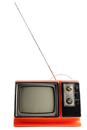 Orange vintage television from the 1970s photo