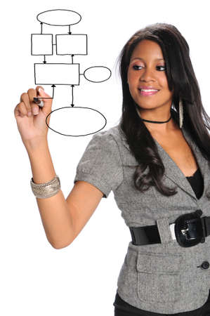 African American businesswoman writing on transparency isolated over white background photo