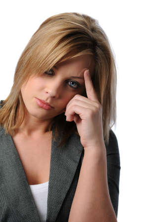 Young depressed woman isolated over white background photo