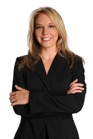 Beautiful businesswoman with arms crossed smiling over white background Stock Photo - 8110987