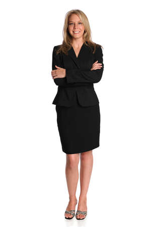 Portrait of beautiful businesswoman standing with arms crossed over white background Stock Photo - 8110672