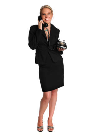Beautiful businesswoman using retro phone isolated over white background Stock Photo - 8110662