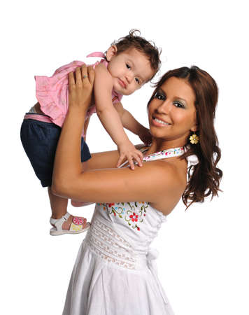 Portrait of Hispanic mother holding daughter isolated over white background Foto de archivo