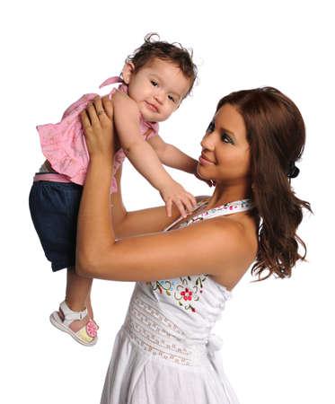 hispanic mother: Hispanic mother and child isolated over white background