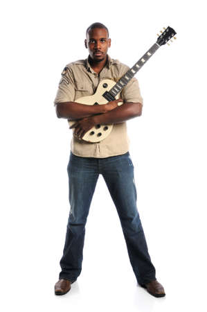 African American man holding electric guitar isolated over white background photo