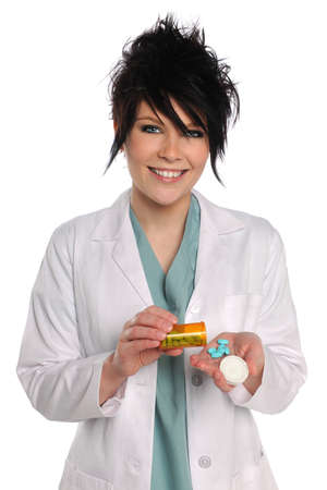Young health care provider with prescription drugs smiling over white background photo