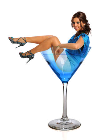 Beautiful Hispanic woman in martini glass isolated over white background Standard-Bild