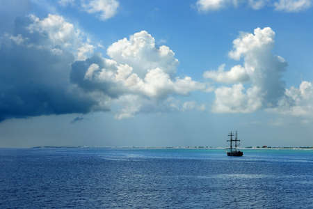 Pirate ship sailing on Caribbean waters in the Cayman Islands photo