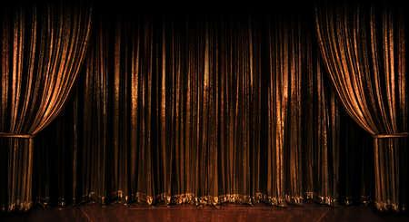 木製の床の上の黄金のステージ カーテン 写真素材