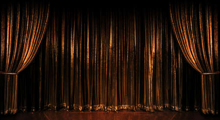 Stage golden curtains over wooden floor Stock Photo - 8130276