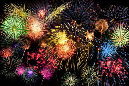 brighten: Fireworks of different colors brighten the night sky