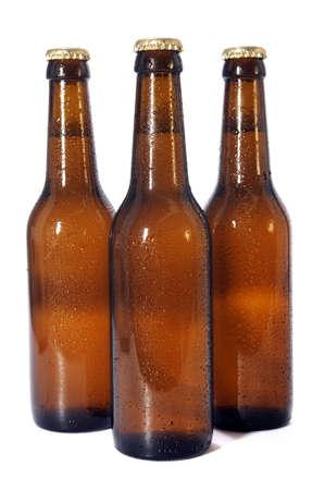 Beer bottles isolated over white background