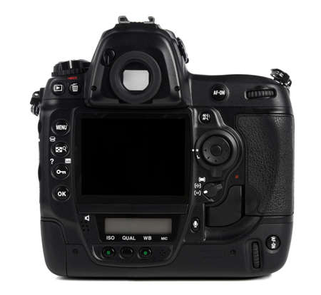 back to camera: Back of professional digital camera isolated over white background