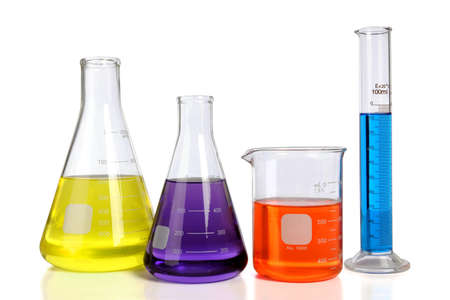Laboratory glassware over white background with table reflections Stock Photo - 8130631