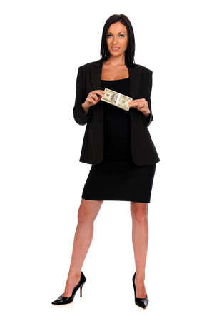 Young woman holding money isolated over white background