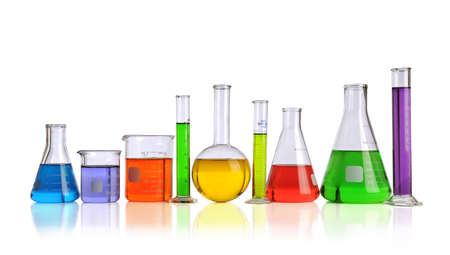 lab test: Laboratory glassware with liquids of different colors isolated over white background Stock Photo