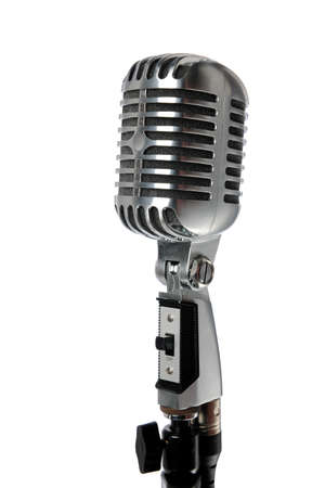 Vintage microphone isolated over white background Stock Photo - 8204796