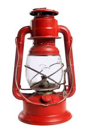 Vintage red railroad lantern isolated over white background Stock Photo - 8204851