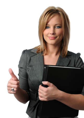 Portrait of beautiful bussinesswoman showing thumbs up isolated over white background photo