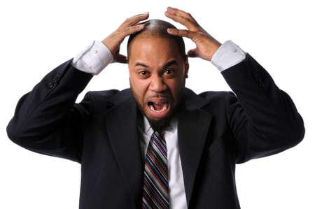 annoying: Portret afrykańskiego amerykański biznesmen wyrażając frustrację samodzielnie nad białym tle