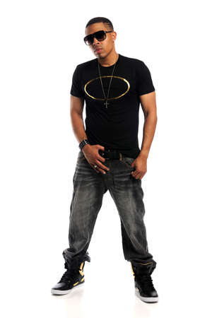 hip hop man: Portrait of young African American hip hop man standing isolated over white background