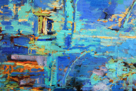 Abstract olieverf schilderij met overheersende blues Stockfoto
