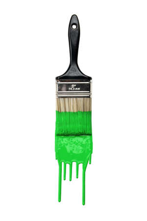 Paintbrush with dripping green paint isolated over white background Stock Photo - 8204906