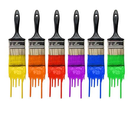 maleza: Pinceles con goteo de pintura de diferentes colores aislados sobre fondo blanco