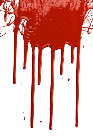 Red paint dripping isolated over white background photo
