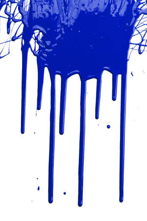 Blue paint dripping isolated over white background photo