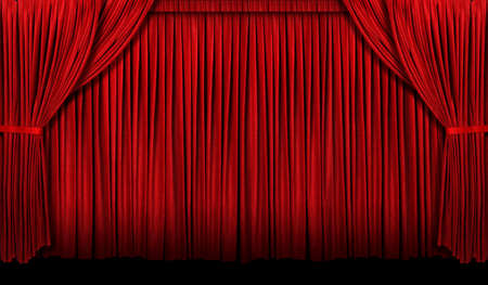 Large Red theater curtain with lights and shadows Фото со стока - 8273797