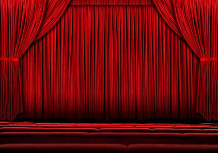 Large Red theater curtain with lights and shadows photo